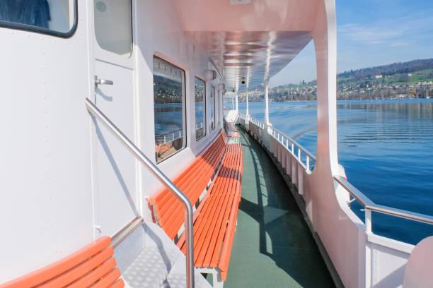 utanför däck av en färja på vierwaldstättersjön - ferry lake sweden bildbanksfoton och bilder