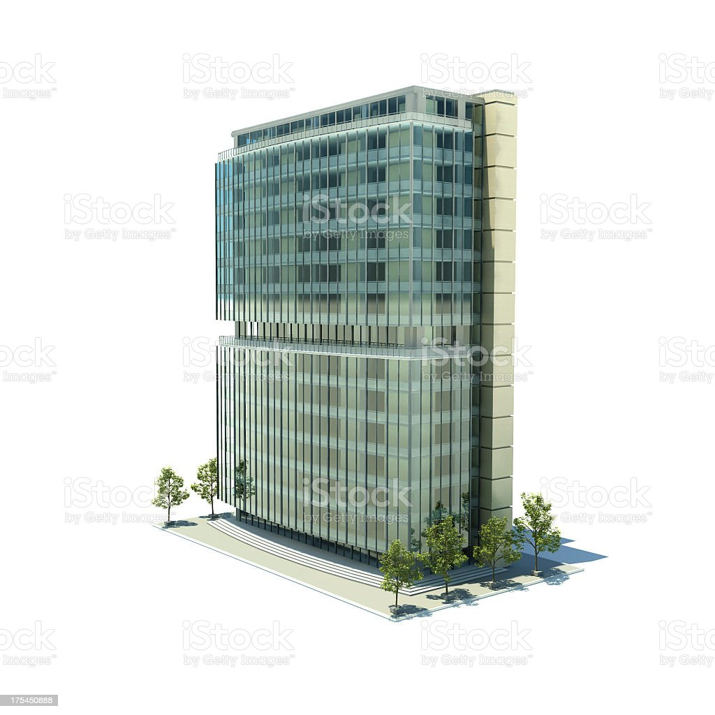 The outside of a modern office building stock photo