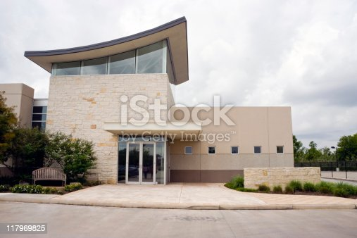 A small modern office building exterior entrance