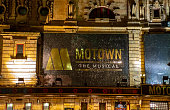 The outside advertising for the Motown Story, on at the Shaftesbury Theatre on Shaftesbury Avenue, London, England, UK. This is taken at night at the end of November 2018.