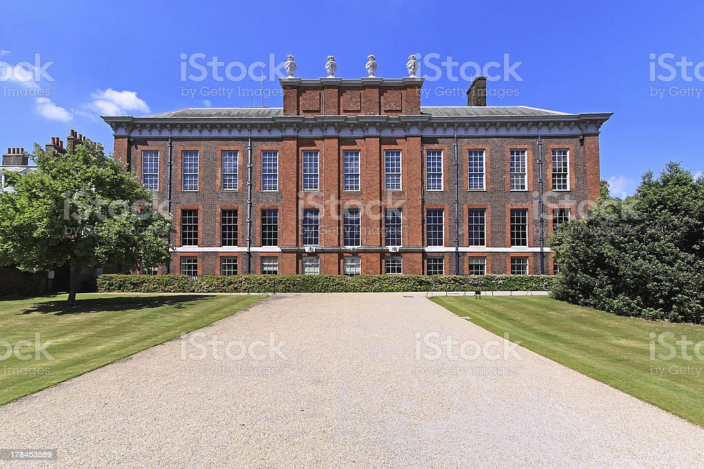 The outside view of Kensington palace stock photo