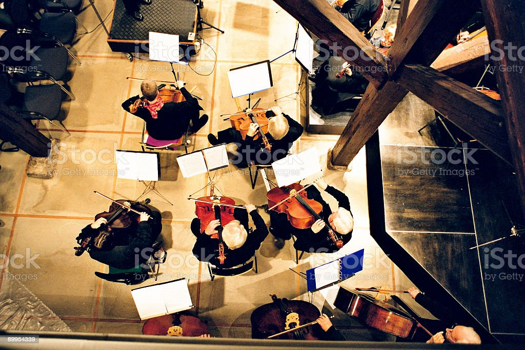 The overhead view of an orchestra royalty-free stock photo