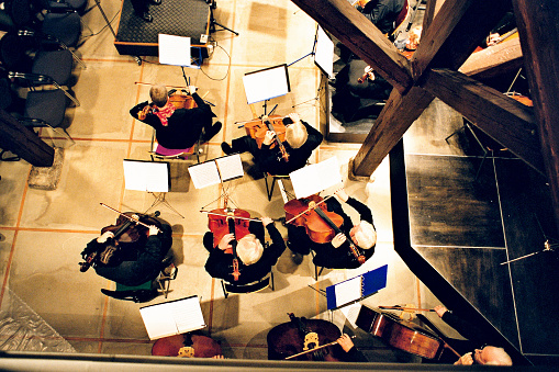 The overhead view of an orchestra
