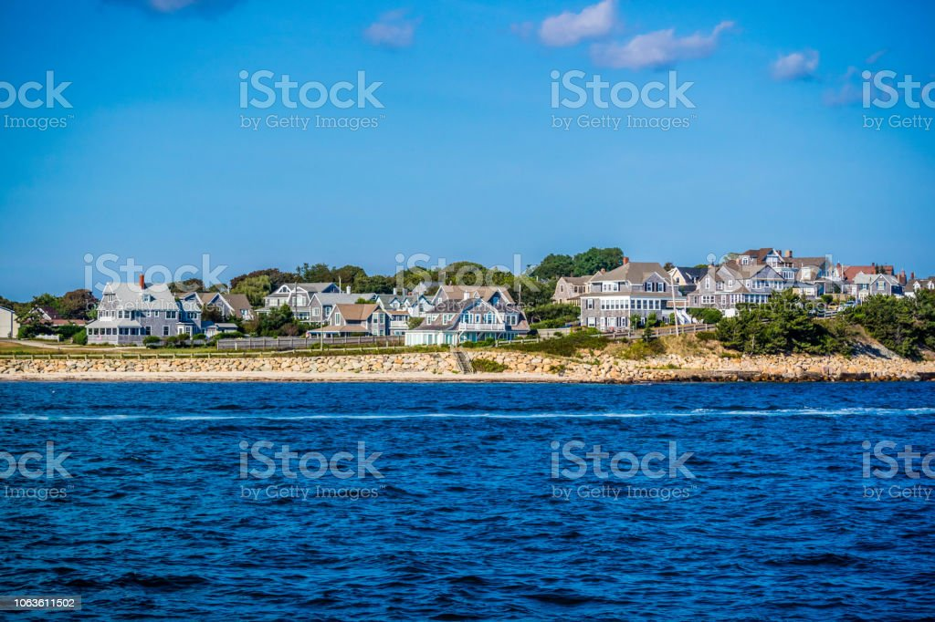 The overlooking view of the island in Massachusetts at Cape Cod Martha's Vineyard stock photo