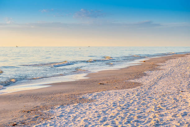 The overlooking view of the shore in Anna Maria Island, Florida stock photo