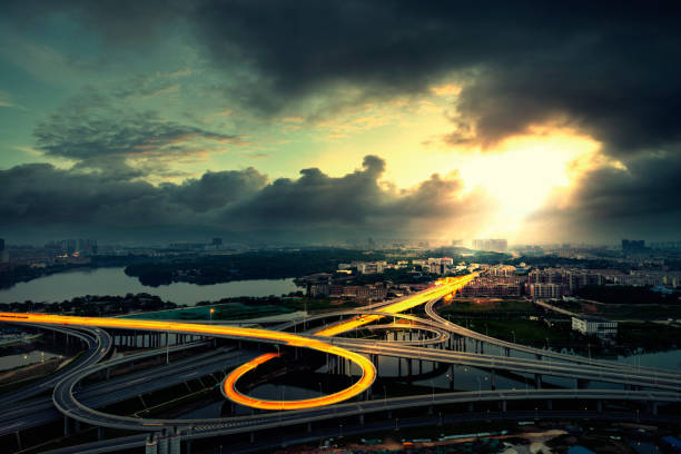 the overpass the overpass at nanchang city,china elevated road stock pictures, royalty-free photos & images