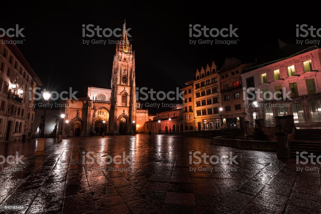 The Oviedo Cathedral stock photo