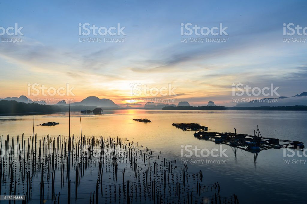 The Oyster Farms at Fisherman village at Samchong-tai, Phang Nga stock photo