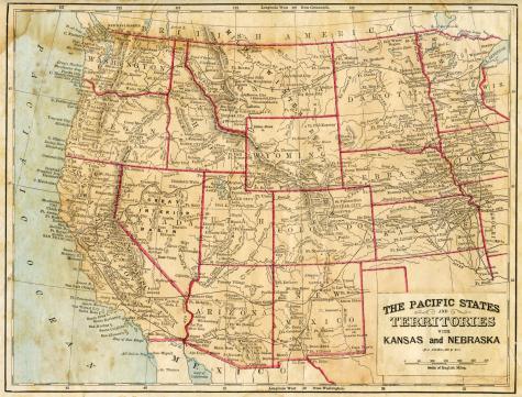 vintage map showing the Pacific States of America