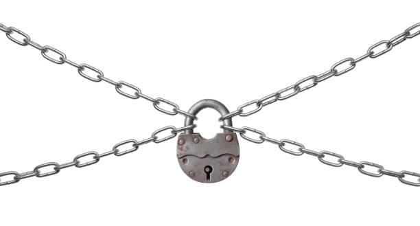 The padlock and chains The padlock and chains isolated on a white background. padlock stock pictures, royalty-free photos & images