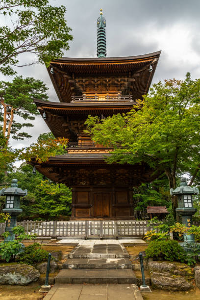 """The pagoda of Gotokuji temple, the famous """"cat shrine"""" of Tokyo located in Setagaya district stock photo"""