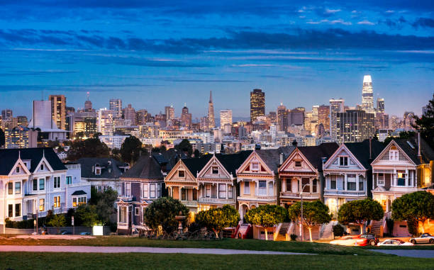 The Painted Ladies and San Francisco Skyline stock photo