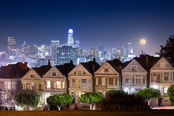 The Painted Ladies at Night in San Francisco stock photo