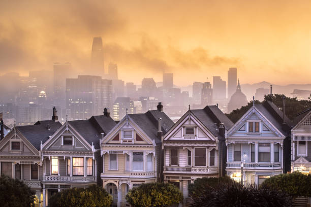 The Painted Ladies at Sunrise in San Francisco stock photo