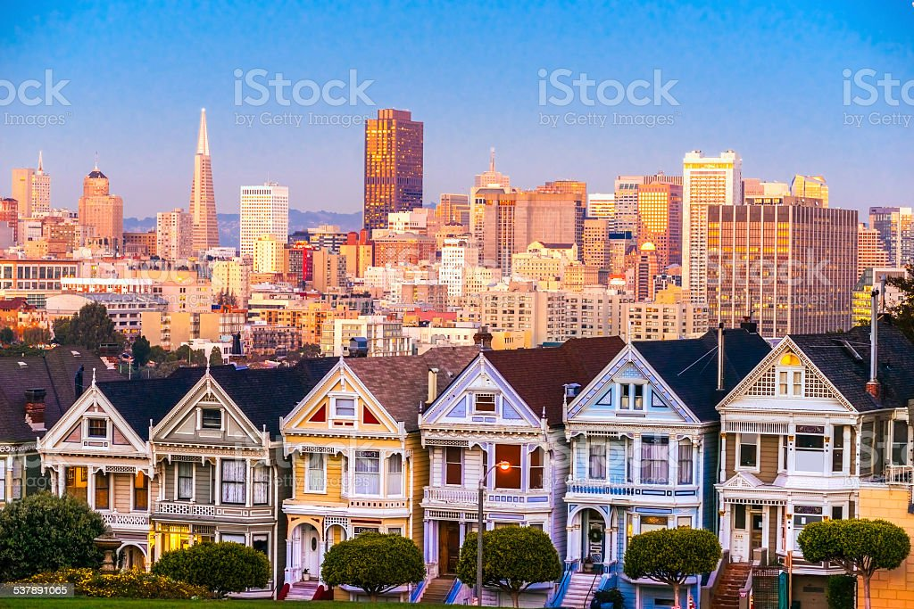 The Painted Ladies of San Francisco, California. USA. stock photo