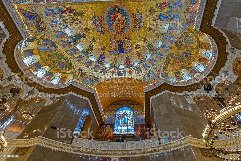 The painting on the dome of Naval Cathedral in Kronstadt stock photo