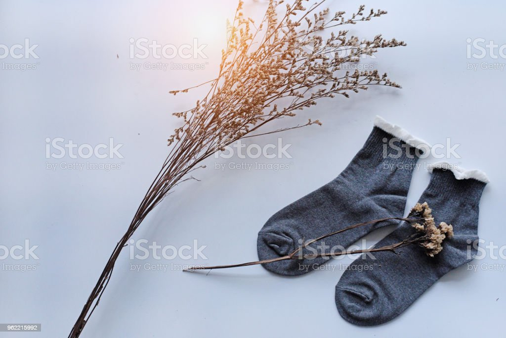 The pair of sock put beside dried flower on white desk,in abstract art design,warm light tone,blurry light around. stock photo