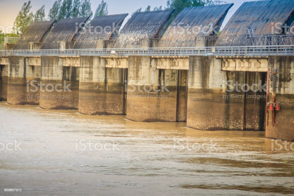 The Pak Mun Dam, a barrage dam and run-of-the-river hydroelectric plant of the Mun river in Ubon Ratchathani Province, Thailand. It was supported from the World Bank and completed in 1994. stock photo