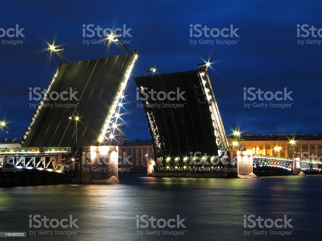 The Palace Bridge in St.Petersburg. stock photo