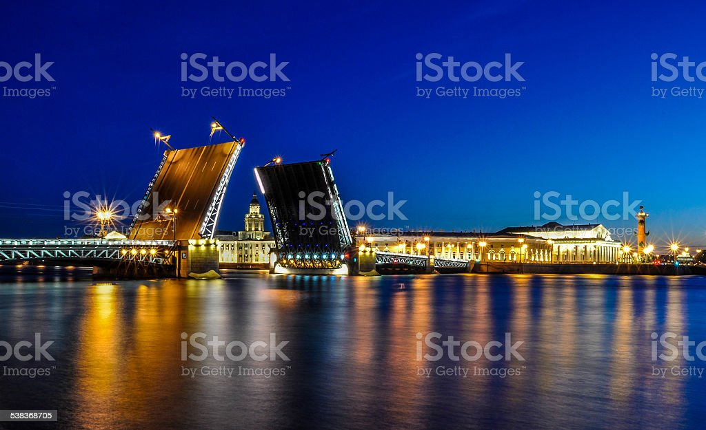 The Palace Bridge in St.Petersburg stock photo