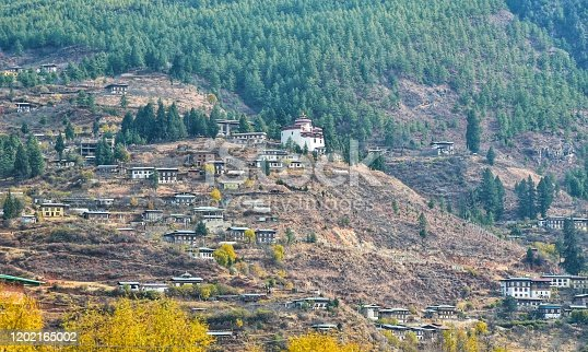 The palace is located on a mountain in Bhutan with beautiful nature.