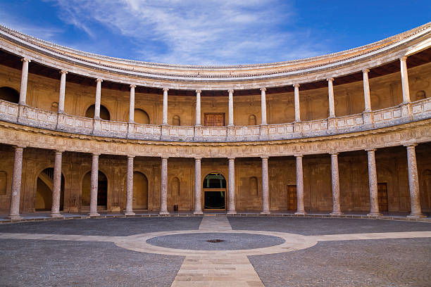 The palace of Charles V, Alhambra, Granada The palace of Charles V in the Alhambra of Granada, Andalusia, Spain palace of charles v stock pictures, royalty-free photos & images