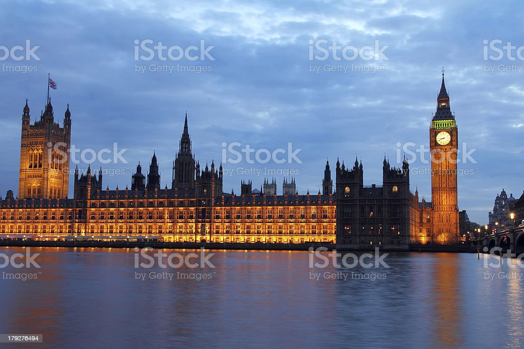 The Palace of Westminster at dusk royalty-free stock photo
