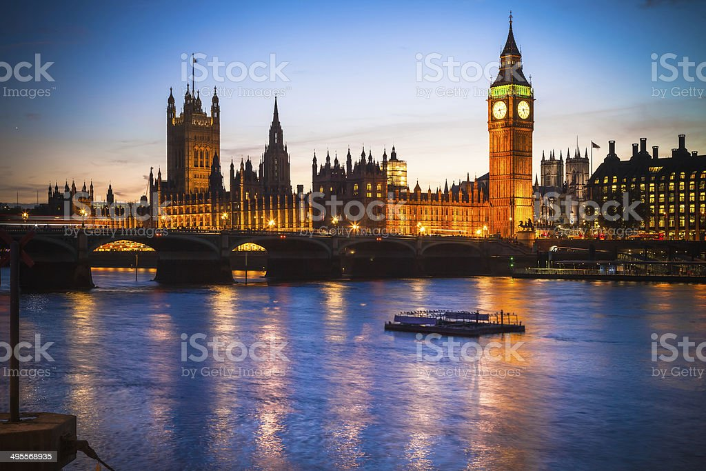 The Palace of Westminster from Thames river at dusk stock photo