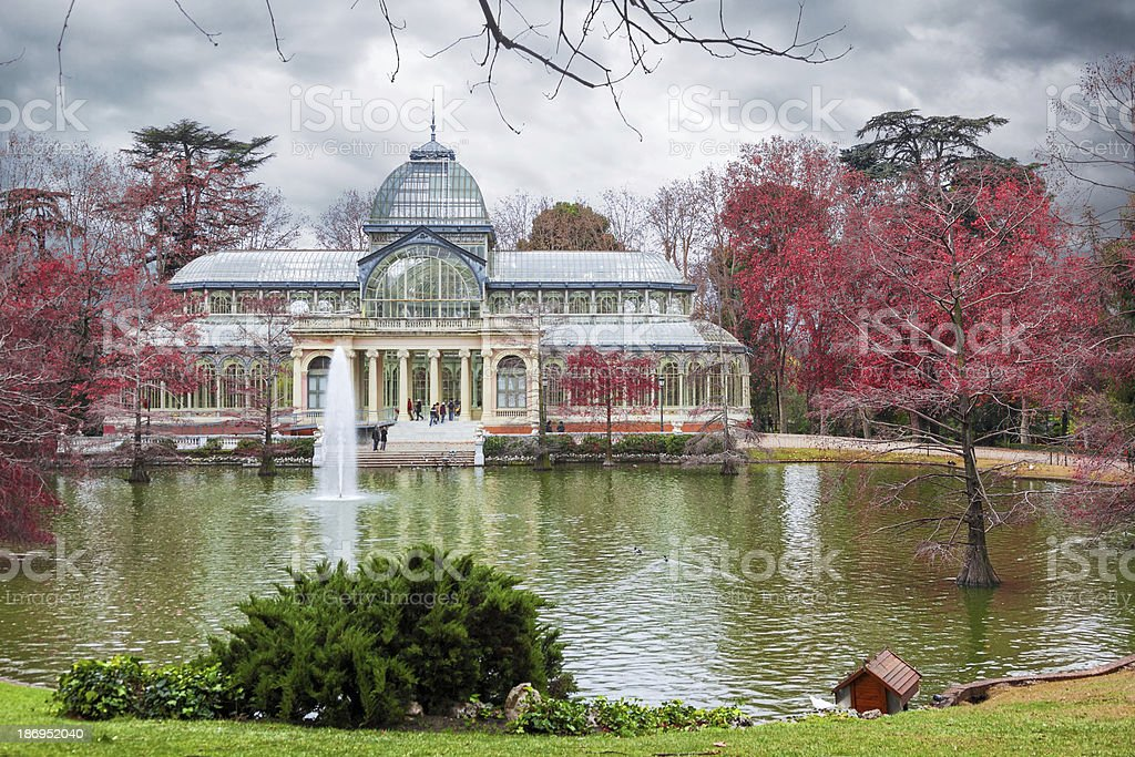 The Palacio de Cristal in Madrid at winter, Spain. stock photo
