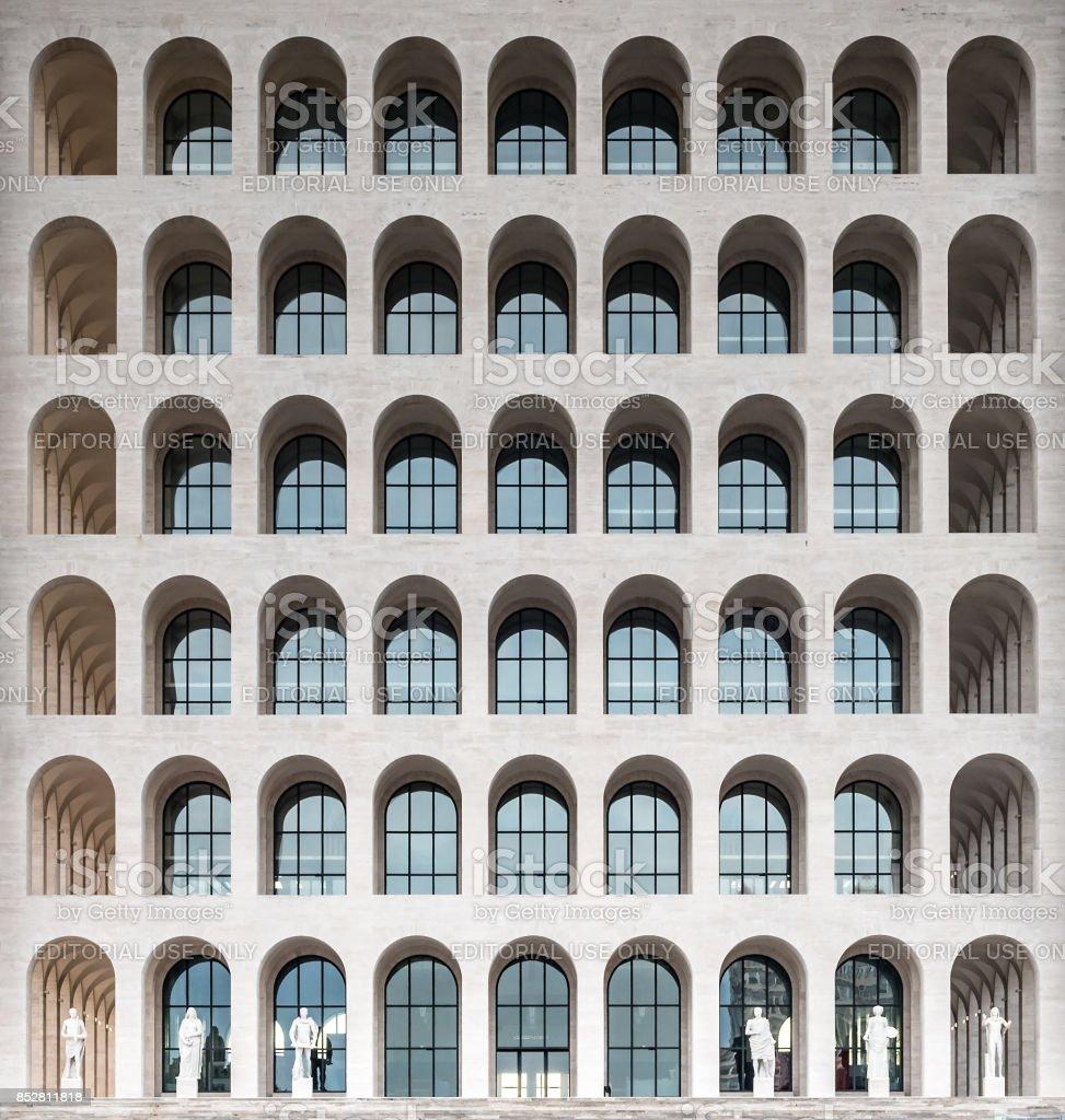 The Palazzo della Civilta Italiana, aka Square Colosseum, Rome, Italy stock photo