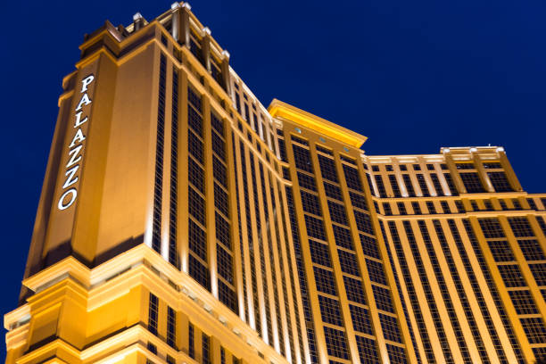 The Palazzo luxury hotel and casino resort at night located on the Strip in Las Vegas, Nevada. stock photo