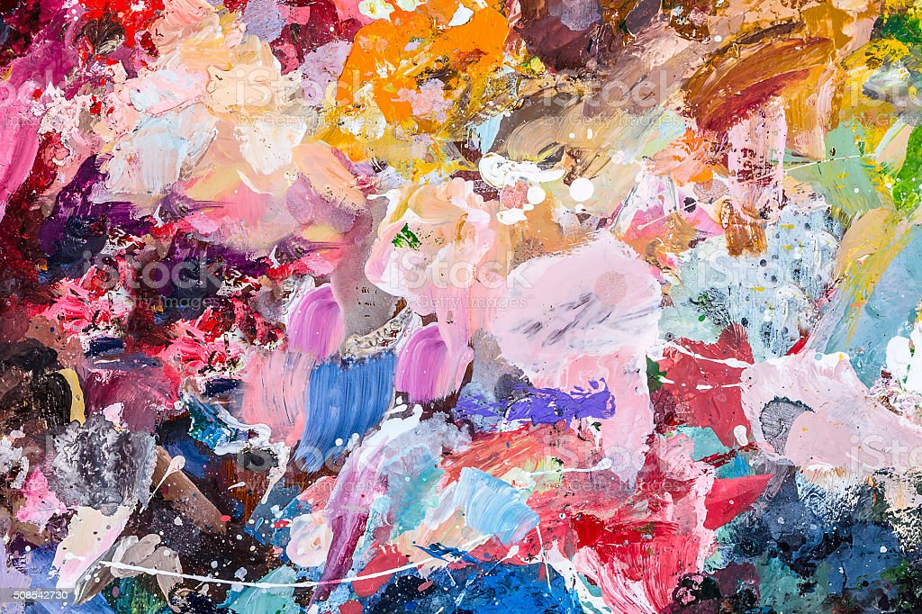 The palette of artist for mixing oil paints stock photo
