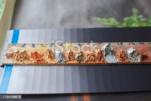 istock The palette of oil paints for painting 1134106676