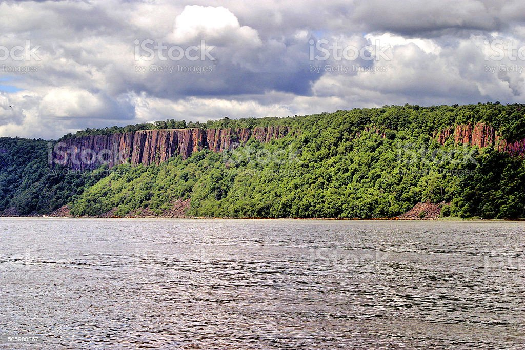 The Palisades on the Hudson from Dobbs Ferry stock photo