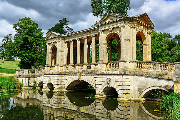 The Palladian Bridge  at Stowe, England  buckinghamshire stock pictures, royalty-free photos & images