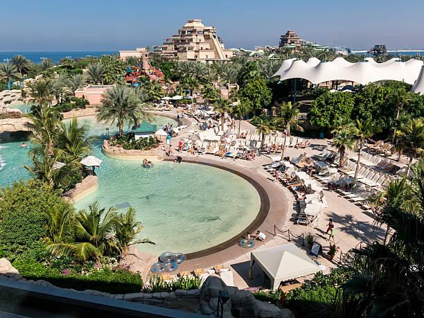 The Palm Atlantis Water Park in Dubai stock photo