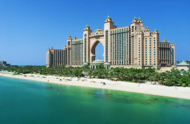 The Palm Jumeirah and Atlantis hotel in Dubai. stock photo