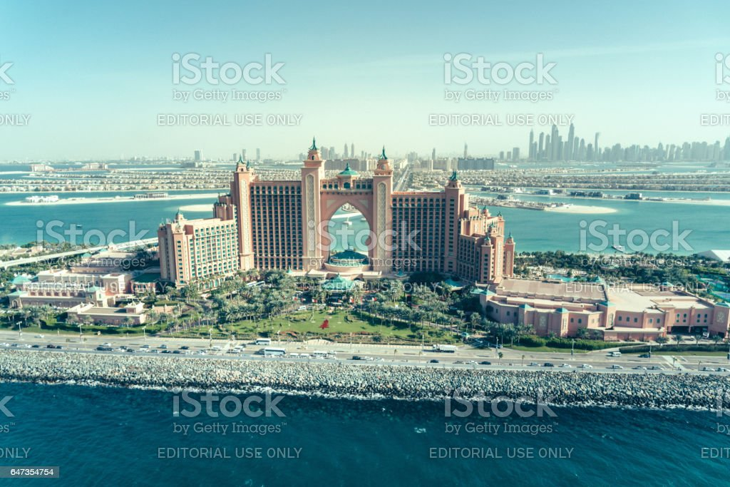 The Palm Jumeirah, Atlantis hotel stock photo
