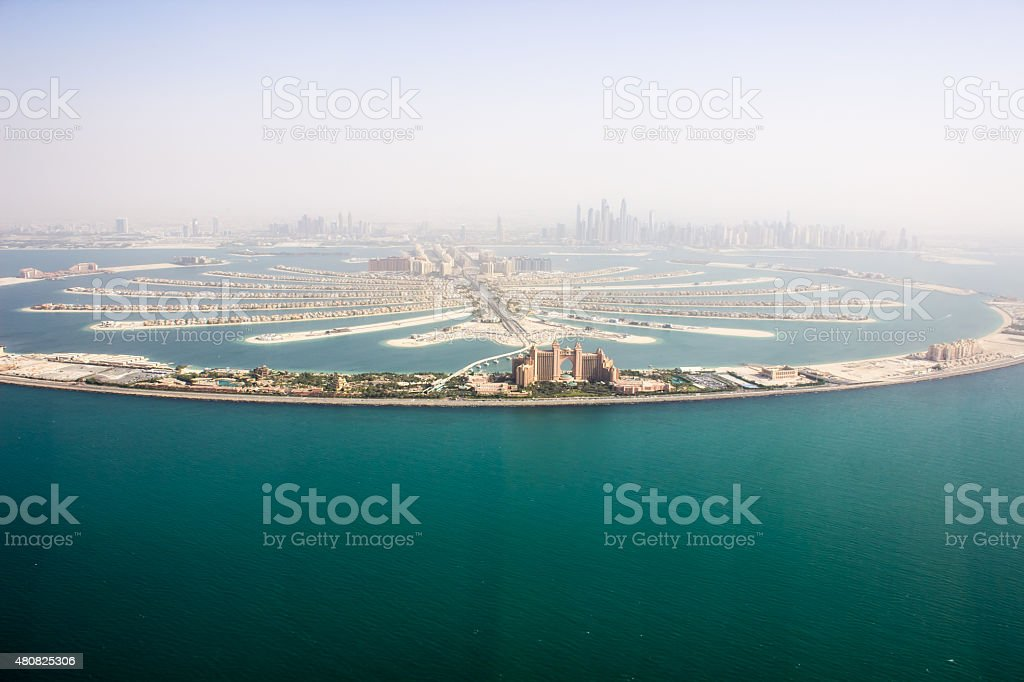 The Palm Jumeirah helicopter view stock photo