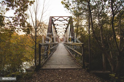 This railroad bridge was constructed in 1890, which crosses the Broad River. The original bridge was intentionally burned by the Confederate troops during the Civil War to slow the