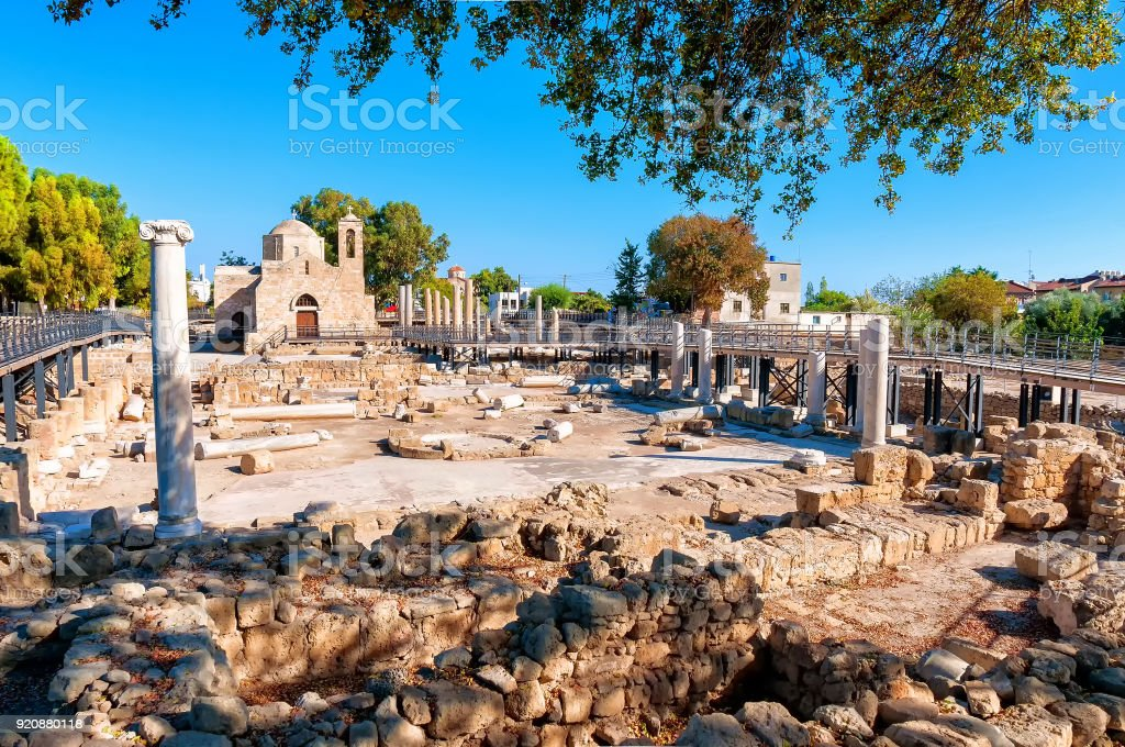 The Panagia Chrysopolitissa church. Paphos, Cyprus stock photo
