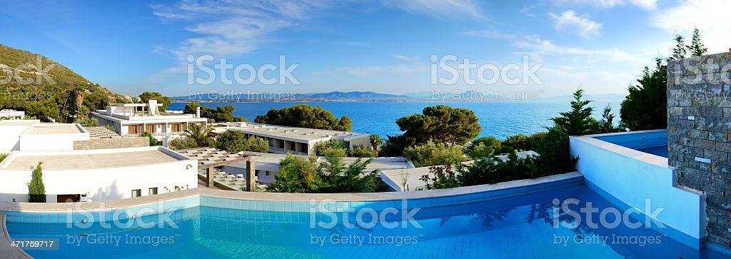 The panorama of sea view swimming pool royalty-free stock photo