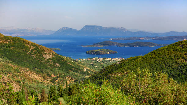 The panoramic view to nidri and princes islands stock photo