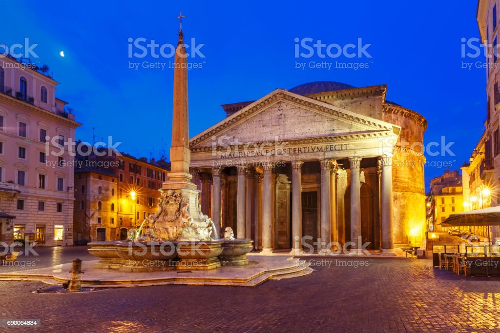 The Pantheon at night, Rome, Italy stock photo