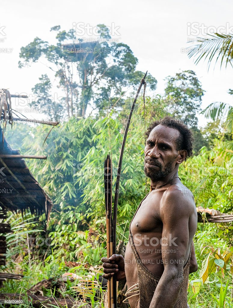 The Papuan from a Korowai tribe stock photo