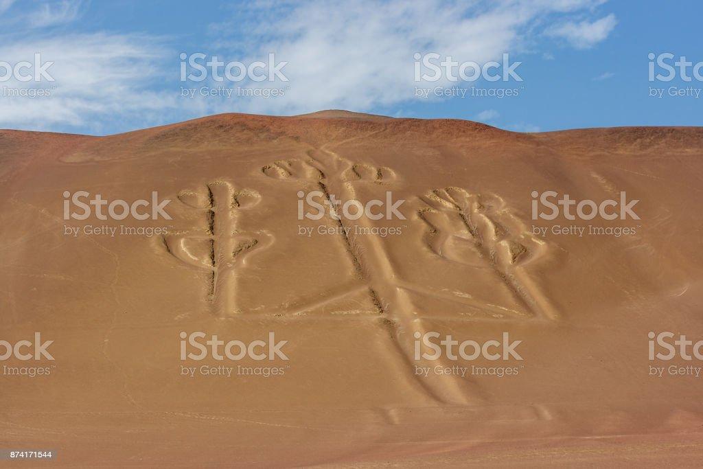 The Paracas Candelabra, Paracas Peninsula, Peru stock photo