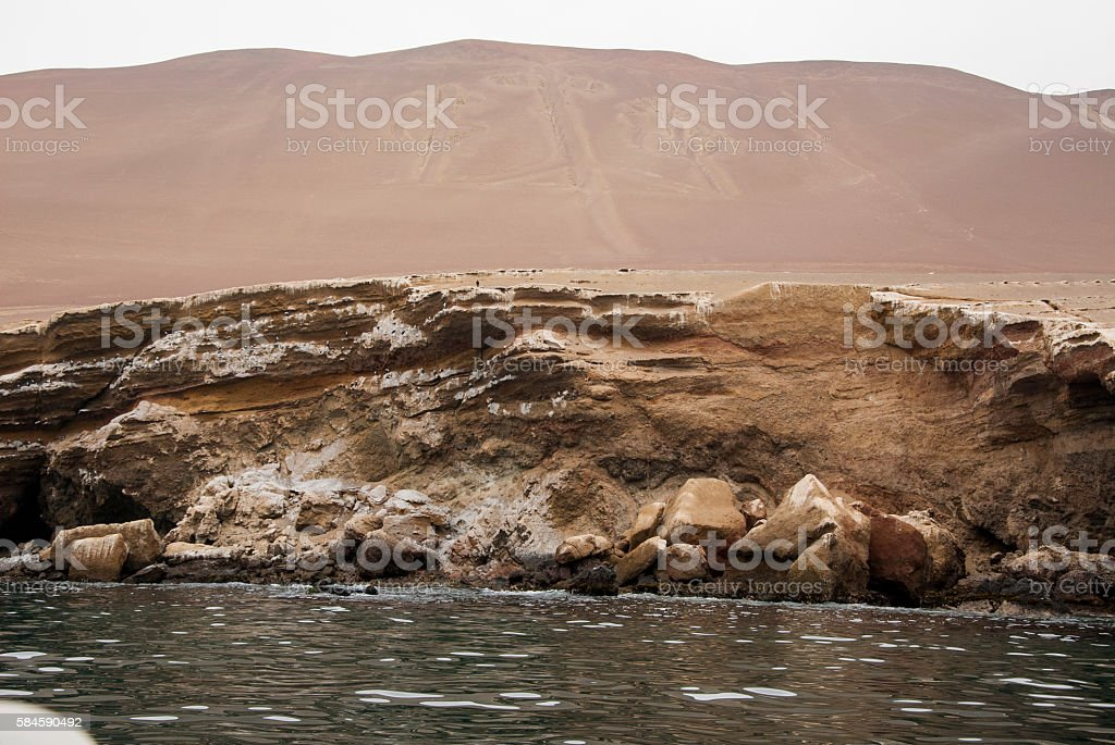 The Paracas Candelabra - Peru - Andes culture stock photo