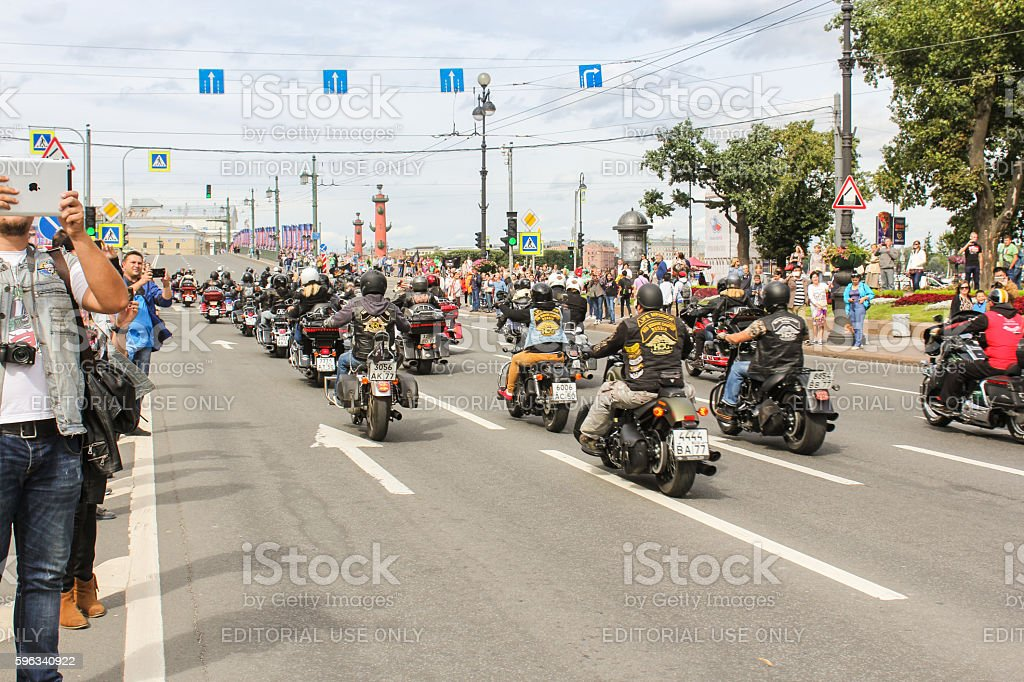 The parade of bikers from different countries. royalty-free stock photo