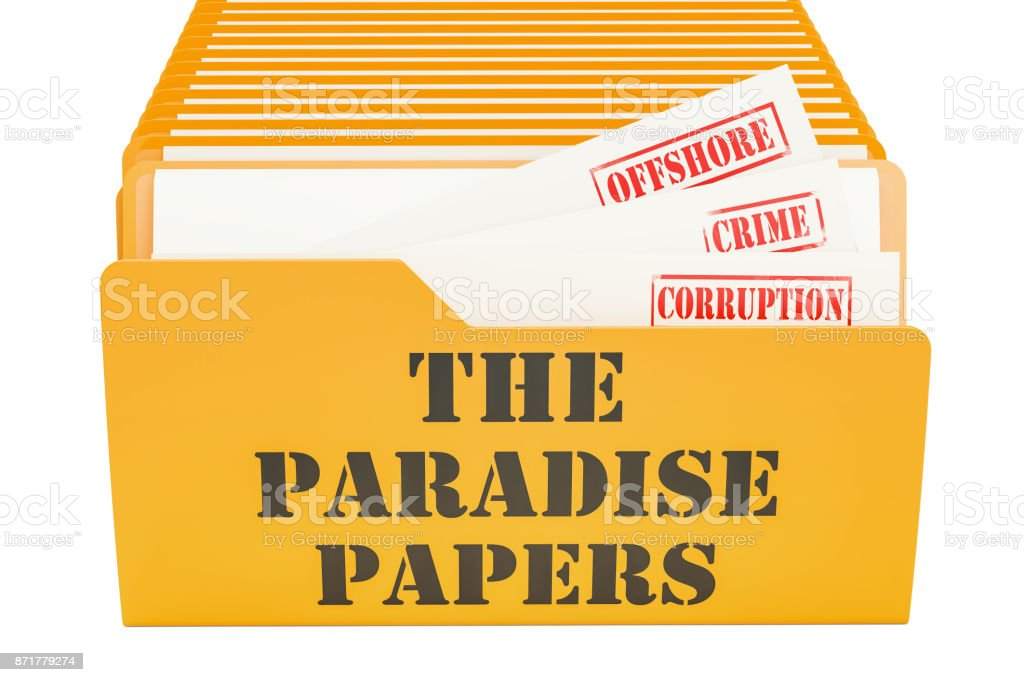The Paradise Papers, leak concept. 3D rendering isolated on white background vector art illustration