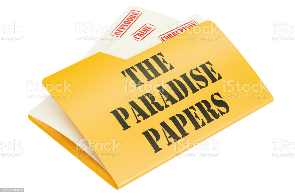 The Paradise Papers, leak of data concept. 3D rendering isolated on white background vector art illustration
